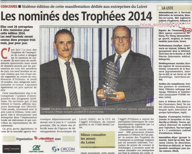 Kiwik nominé pour les trophées 2014