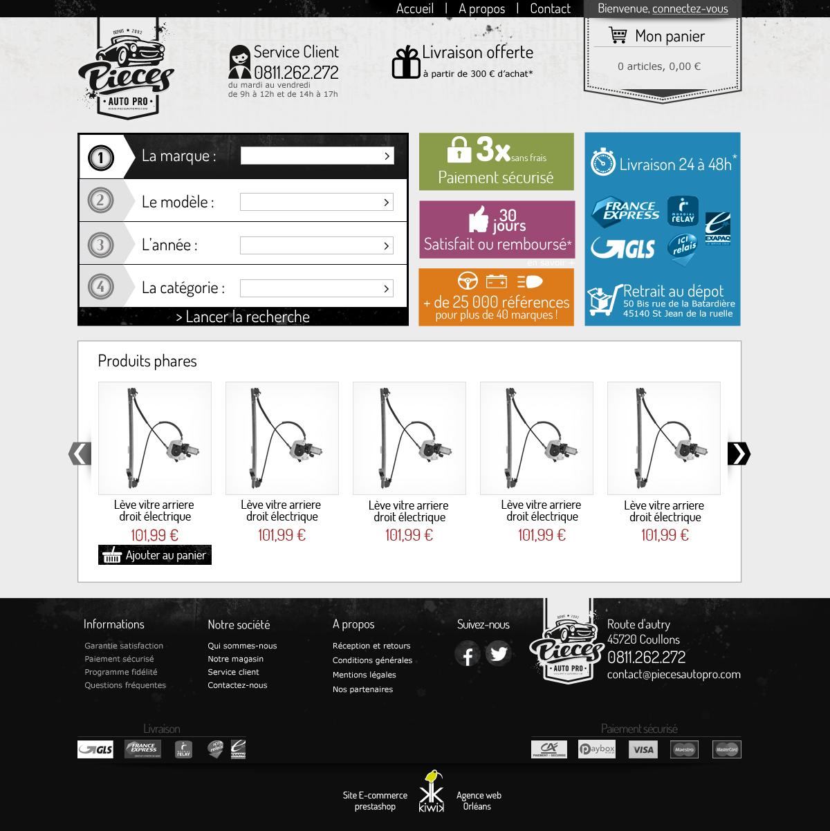 mont e de version prestashop et refonte du site pi ces auto pro. Black Bedroom Furniture Sets. Home Design Ideas